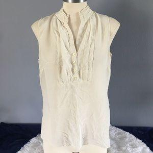 Banana Republic 100% Silk Bib Front blouse